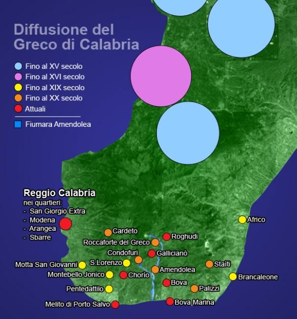 Diffusione del dialetto Greco-Calabro