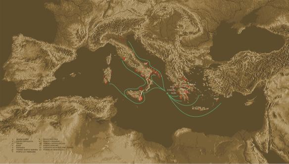 Principali-rotte-di-navigazioni-dal-mar-Egeo-verso-la-penisola