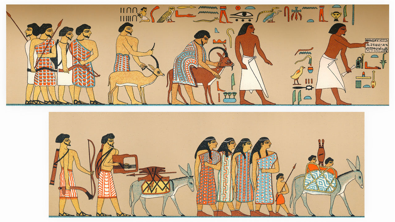 Semitic people from Syria-Canaan invading Egypt, tomb wall at Beni Hassan, 1700 B.C, Einwanderung semitischer Familien in Agypte